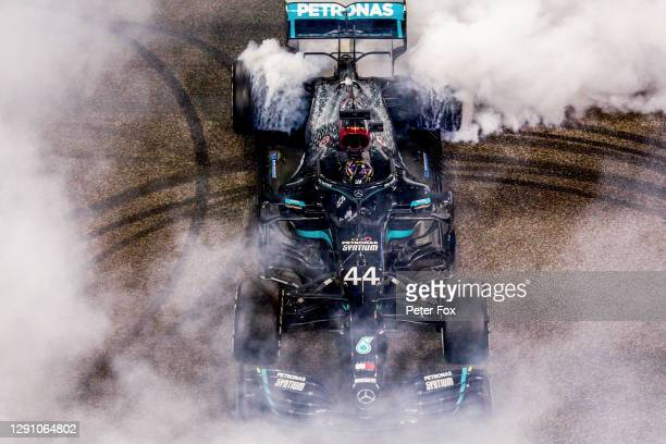 Lewis Hamilton of Mercedes and Great Britain during the F1 Grand Prix of Abu Dhabi at Yas Marina Circuit on December 13, 2020 in Abu Dhabi, United...