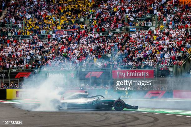 Lewis Hamilton of Mercedes and Great Britain during the Formula One Grand Prix of Mexico at Autodromo Hermanos Rodriguez on October 28, 2018 in...