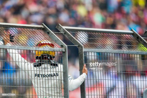 Lewis Hamilton of Mercedes and Great Britain during the Formula One Grand Prix of China at Shanghai International Circuit on April 9 2017 in Shanghai...