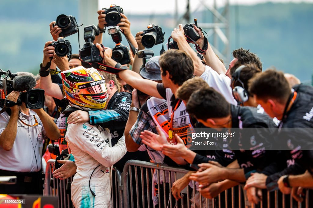 Lewis Hamilton of Mercedes and Great Britain during the Formula One Grand Prix of Belgium at Circuit de Spa-Francorchamps on August 27, 2017 in Spa, Belgium.