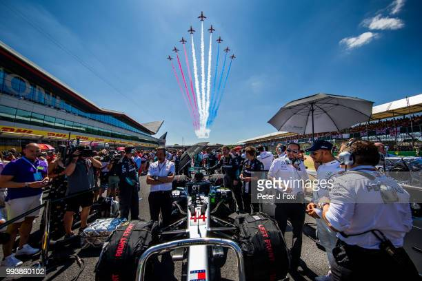 Lewis Hamilton of Mercedes and Great Britain during the Formula One Grand Prix of Great Britain at Silverstone on July 8, 2018 in Northampton,...