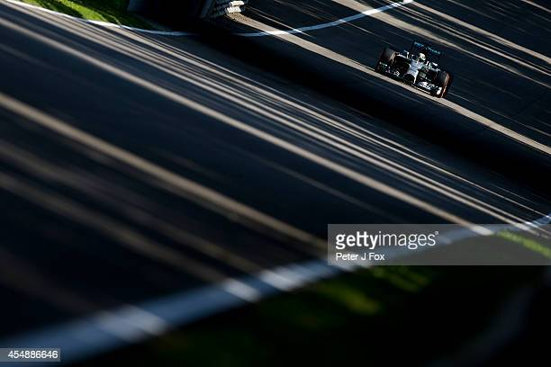 Lewis Hamilton of Mercedes and Great Britain during the Italian Formula One Grand Prix at Autodromo di Monza on September 7 2014 in Monza Italy