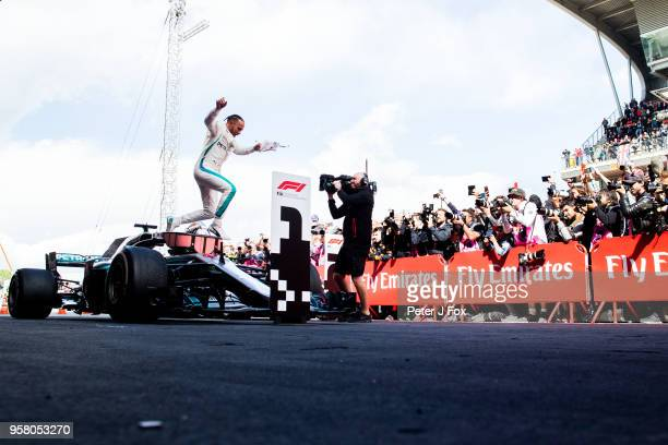 Lewis Hamilton of Mercedes and Great Britain during the Spanish Formula One Grand Prix at Circuit de Catalunya on May 13, 2018 in Montmelo, Spain.