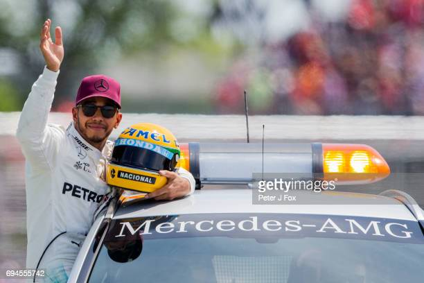 Lewis Hamilton of Mercedes and Great Britain takes Pole Position during qualifying for the Canadian Formula One Grand Prix at Circuit Gilles...