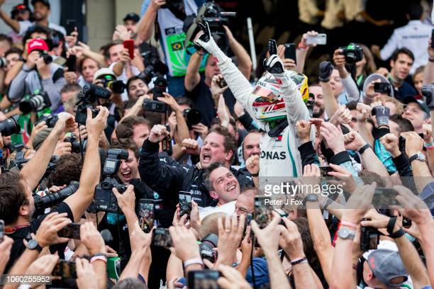 Lewis Hamilton of Mercedes and Great Britain wins the Formula One Grand Prix of Brazil at Autodromo Jose Carlos Pace on November 11, 2018 in Sao...