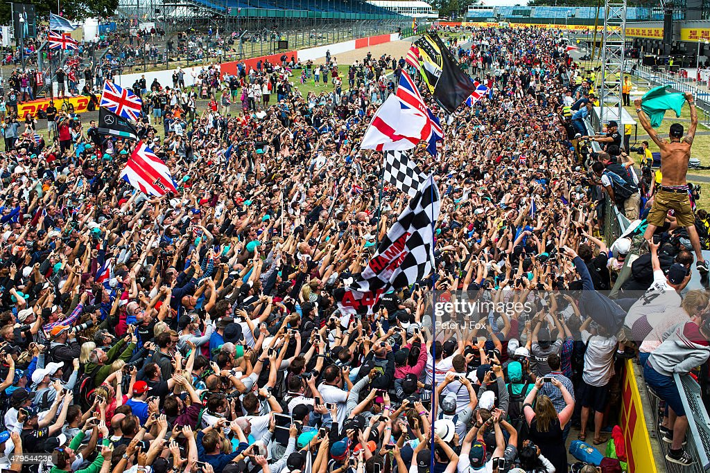 Lewis Hamilton of Mercedes and Great Britain wins the Formula One Grand Prix of Great Britain at Silverstone Circuit on July 5, 2015 in Northampton, England.