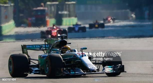 Lewis Hamilton of Mercedes competes during the Azerbaijan Formula One Grand Prix at Baku City Circuit in Baku Azerbaijan on June 25 2017