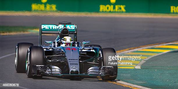 Lewis Hamilton of Mercedes Petronas F1 seen during practice on Day 2 of the 2015 Australian Formula 1 Grand Prix on March 13 2015 in Melbourne...