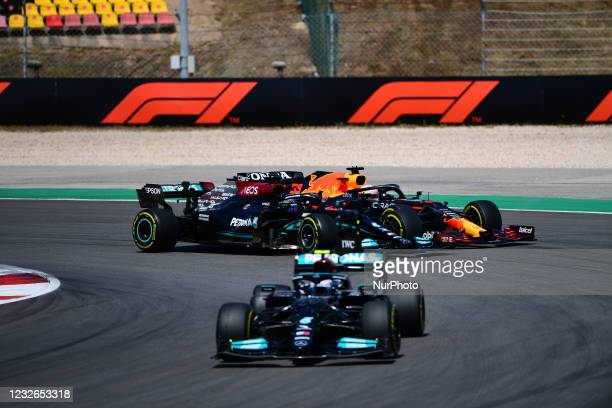Lewis Hamilton of Mercedes-AMG Petronas F1 Team and Max Verstappen of Red Bull Racing Honda battle during race of Portuguese GP, third round of...