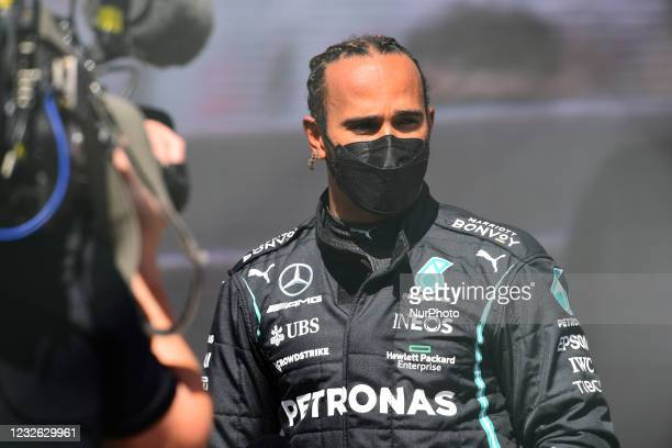 Lewis Hamilton of Mercedes-AMG Petronas F1 Team drive his W12 single-seater during qualifying session of Portuguese GP, third round of Formula 1...