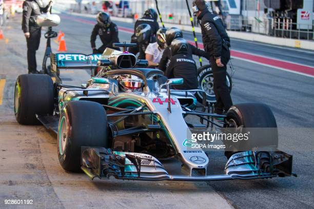 Lewis Hamilton of MercedesAMGPetronas Formula One Team with Mercedes F1 W00 Hybrid car seen during F1 Test Days in Montmelo circuit