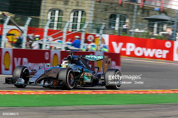 Lewis Hamilton of the Mercedes AMG Petronas F1 Team during the 2015 Formula 1 Shell Belgian Grand Prix free practise 1 at Circuit de...