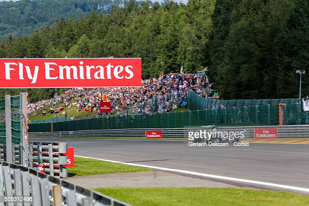 Lewis Hamilton of the Mercedes AMG Petronas F1 Team during the 2015 Formula 1 Shell Belgian Grand Prix free practice 2 at Circuit de...
