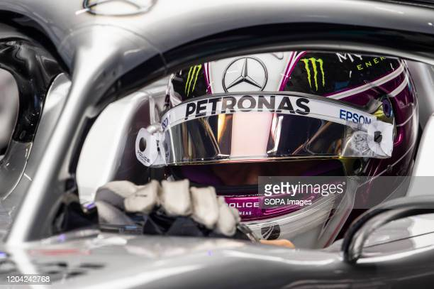 Lewis Hamilton participates in the tests for the new season of the Formula One Grand Prix at the Circuit de Catalunya in Montmelo