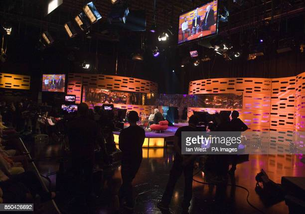 Lewis Hamilton Pedro Almodovar and Dara O'Briain during the filming of the Graham Norton show at the London Studios in London