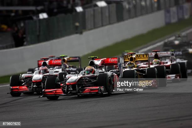 Lewis Hamilton Robert Kubica Jenson Button McLarenMercedes MP425 Renault R30 Grand Prix of Belgium Circuit de SpaFrancorchamps 29 August 2010 Lewis...