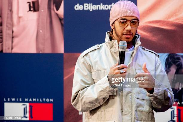 Lewis Hamilton speaks during the launch party of TommyXLewis at the Dutch warehouse De Bijenkorf, Amsterdam.