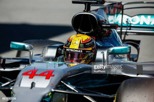 Lewis Hamilton team Mercedes during the Formula One GP of Spain 2017 Qualifying celebrated at Circuit Barcelona Catalunuya on 13th May 2017 in...