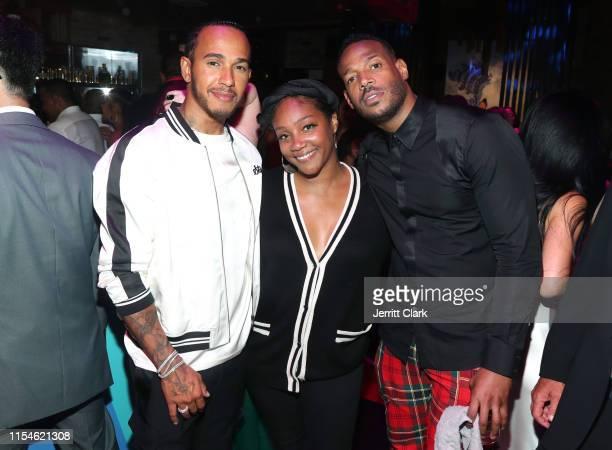 Lewis Hamilton Tiffany Haddish and Marlon Wayans celebrate Kevin Hart's 40th Birthday At TAO In Los Angeles With LOUIS XIII And Rémy Martin XO at TAO...