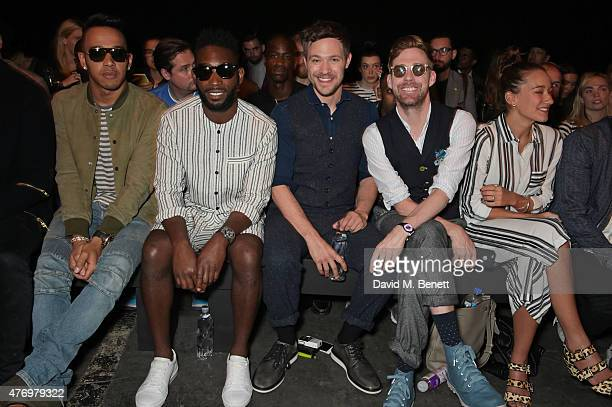 Lewis Hamilton Tinie Tempah Will Young Ricky Wilson and Grace Zito attend the front row at the Oliver Spencer show during London Collections Men SS16...