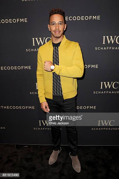 Lewis Hamilton visits the IWC booth during the launch of the Da Vinci Novelties from the Swiss luxury watch manufacturer IWC Schaffhausen at the...