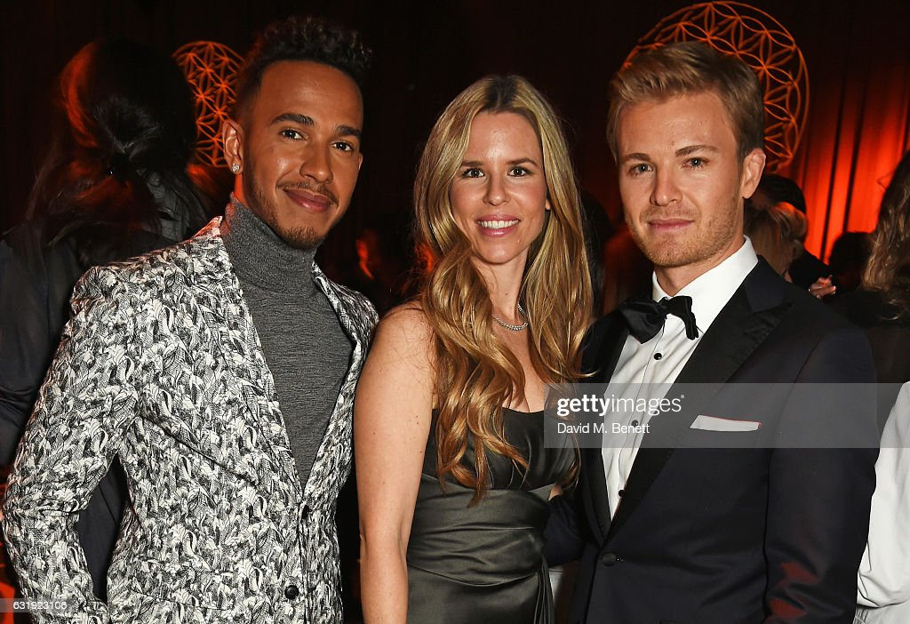 Lewis Hamilton, Vivian Rosberg and Nico Rosberg attend the IWC Schaffhausen 'Decoding the Beauty of Time' Gala Dinner during the launch of the Da Vinci Novelties from the Swiss luxury watch manufacturer IWC Schaffhausen at the Salon International de la Haute Horlogerie (SIHH) on January 17, 2017 in Geneva, .