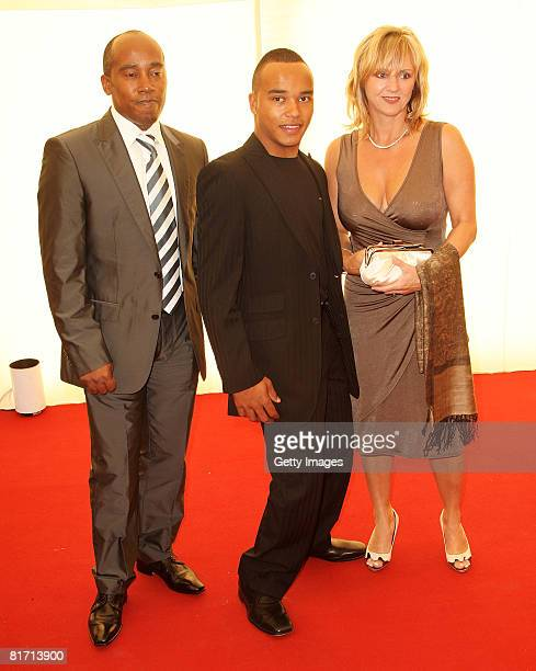 Lewis Hamilton's father Anthony stepmother Linda and brother Nicholas arrive at the dinner in honour of Nelson Mandela/held in his honour celebrating...