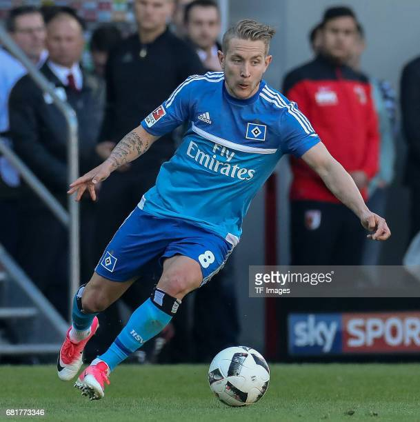 Lewis Harry Holtby of Hamburg controls the ball during the Bundesliga match between FC Augsburg and Hamburger SV at WWK Arena on April 30 2017 in...