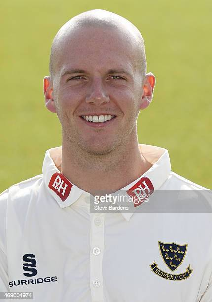 Lewis Hatchett during the Sussex County Cricket Photocall at BrightonandHoveJobs.com County Ground on April 9, 2015 in Hove, England.