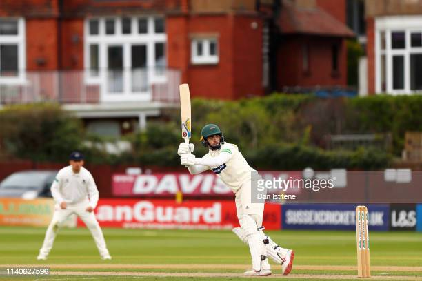 Lewis Hill of Leicestershire bats during the Specsavers County Championship Division Two between Sussex and Leicestershire at The 1st Central County...