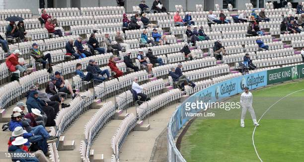 Lewis Hill of Leicestershire chats with the Hampshire fans on the boundary during the LV=Insurance County Championship match between Hampshire and...
