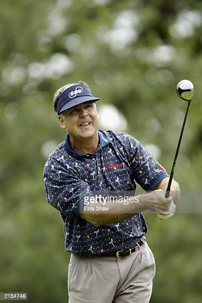 L Lewis hits a shot during the final round of the Buick Classic at the Westchester Country Club on June 22 2003 in Harrison New York