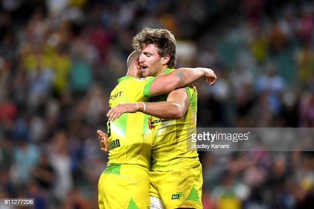 Lewis Holland of Australia celebrates scoring a try in the MenÕs final match against South Africa during day three of the 2018 Sydney Sevens at...