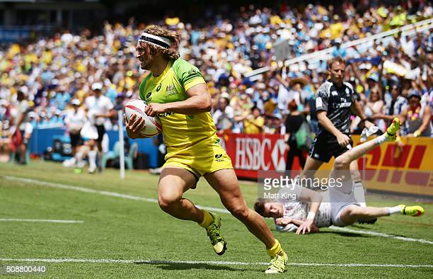 Lewis Holland of Australia scores a try during the 2016 Sydney Sevens Cup Quarter Final match between England and Australia at Allianz Stadium on...