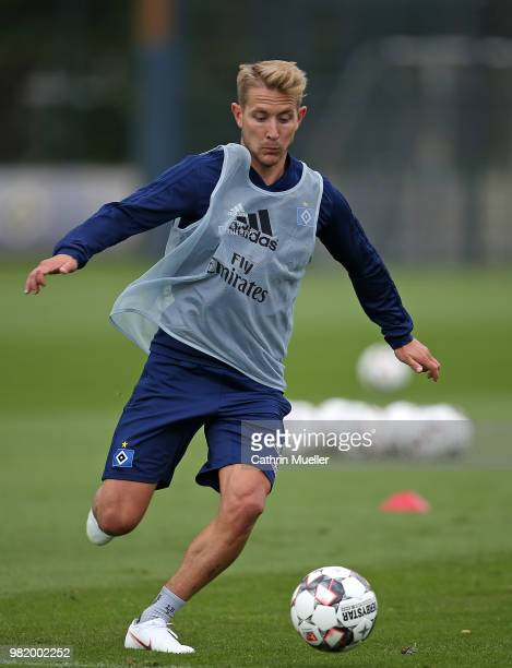 Lewis Holtby in action during the first training session of the new season at Volksparkstadion on June 23 2018 in Hamburg Germany Hamburger SV were...