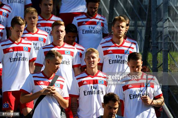 Lewis Holtby looks on during a training session of Hamburger SV at Volksparkstadion on July 9 2017 in Hamburg Germany