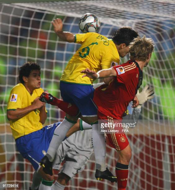 Lewis Holtby of Germany beats Diogo of Brazil with a a header to score the opening goal during the FIFA U20 World Cup Quarter Final match between...