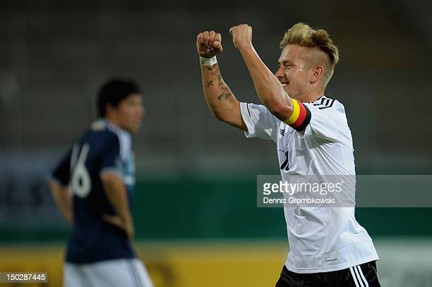 Lewis Holtby of Germany celebrates after scoring his team's fourth goal during the Under 21 international friendly match between Germany U21 and...