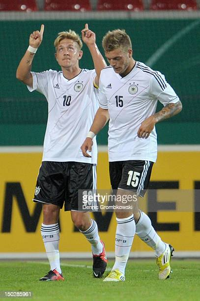 Lewis Holtby of Germany celebrates after scoring his team's second goal during the Under 21 international friendly match between Germany U21 and...