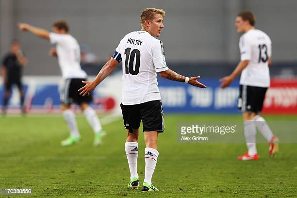 Lewis Holtby of Germany reacts during the UEFA European U21 Championship Group B match between Russia and Germany at Netanya Stadium on June 12 2013...