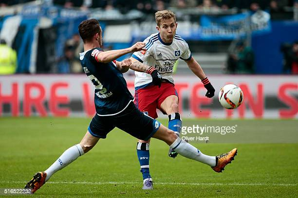 Lewis Holtby of Hamburg and in action during the Bundesliga match between Hamburger SV and 1899 Hoffenheim at Volksparkstadion on March 19 2016 in...