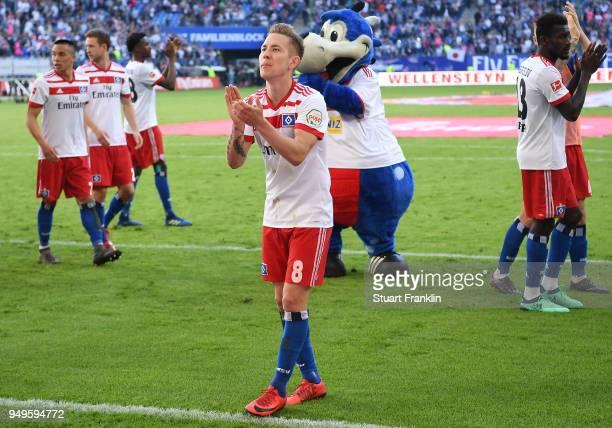 Lewis Holtby of Hamburg celebrates after the Bundesliga match between Hamburger SV and SportClub Freiburg at Volksparkstadion on April 21 2018 in...