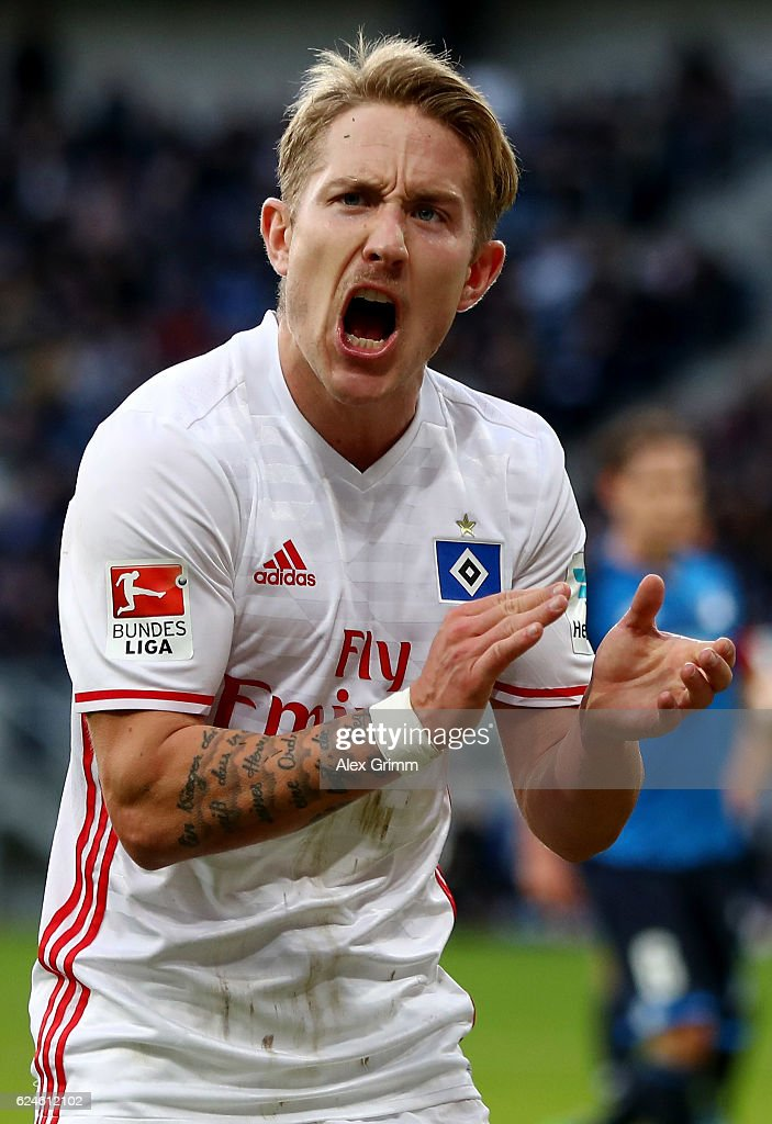 Lewis Holtby of Hamburg celebrates his team's opening goal during the Bundesliga match between TSG 1899 Hoffenheim and Hamburger SV at Wirsol Rhein-Neckar-Arena on November 20, 2016 in Sinsheim, Germany.