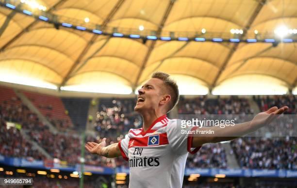 Lewis Holtby of Hamburg celebrates scoring his goal during the Bundesliga match between Hamburger SV and SportClub Freiburg at Volksparkstadion on...