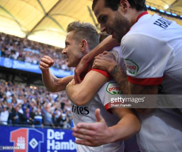 Lewis Holtby of Hamburg celebrates scoring his goal with Dennis Diekmeier during the Bundesliga match between Hamburger SV and SportClub Freiburg at...