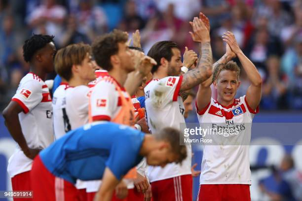 Lewis Holtby of Hamburg celebrates with his team after the Bundesliga match between Hamburger SV and SportClub Freiburg at Volksparkstadion on April...