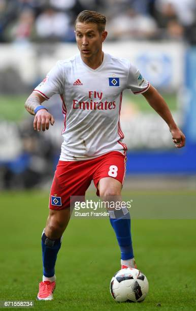 Lewis Holtby of Hamburg in action during the Bundesliga match between Hamburger SV and SV Darmstadt 98 at Volksparkstadion on April 22 2017 in...