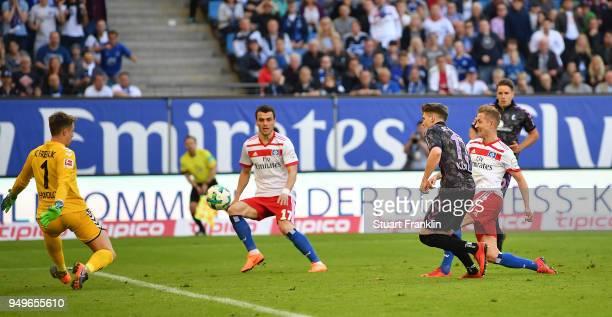 Lewis Holtby of Hamburg scores his goal during the Bundesliga match between Hamburger SV and SportClub Freiburg at Volksparkstadion on April 21 2018...