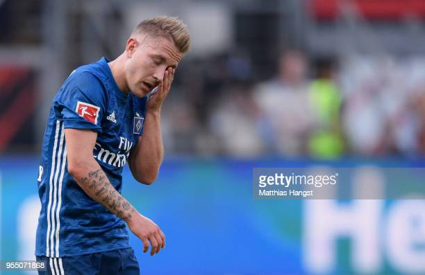 Lewis Holtby of Hamburg shows his disappointment during the Bundesliga match between Eintracht Frankfurt and Hamburger SV at CommerzbankArena on May...