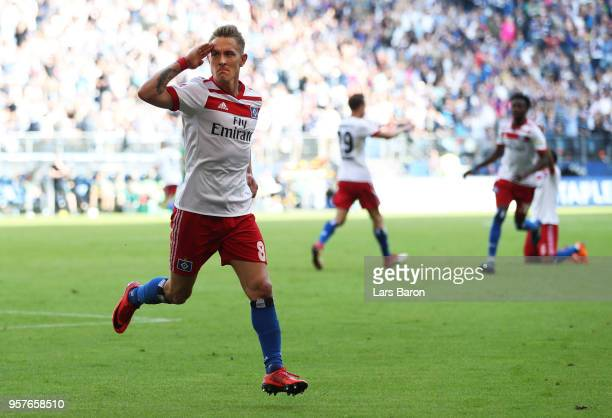 Lewis Holtby of Hamburger SV celebrates after scoring his sides second goal during the Bundesliga match between Hamburger SV and Borussia...